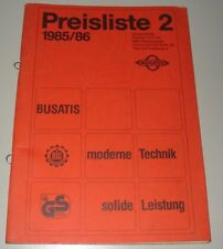 Preisliste Busatis moderne Technik - solide Leistung Ausgabe 1985 / 1986!