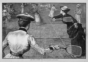 LAWN TENNIS IN PROSPECT PARK 1885 EARLY WOMEN SPORTS PLAYING TENNIS RACQUET NET