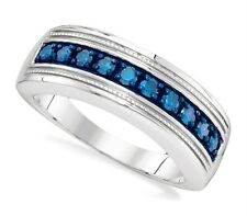 Men's Diamond Band .925 Sterling Silver Blue Diamond Ring .50ct Channel Set