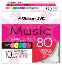 10 Victor JVC Blank Music CDR Discs 80min 24x CD-R Color Mix Made in JAPAN