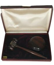 Handcrafted Wooden Gavel with Block & Case for Lawyer Judge Auction