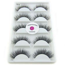 LASGOOS Siberian Mink 3D False Eyelashes 5Pairs Natural Eye Lashes for Makeup