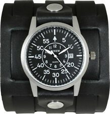 Men's Black Leather Cuff Watch; Military Aviators Dial; 3 Strap Closure