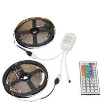 2Pcs 5M 3528 RGB 300Leds LED Strip Light Waterproof + Dual Plug RGB Controller