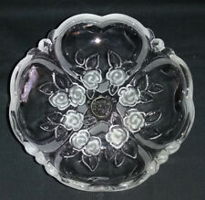 Vintage Crystal Frosted Roses Pedestal Candy / Nut Dish Walther-Glas W. Germany