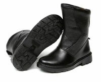Men's warm leather snow fur lined high top ankle boots waterproof black shoes