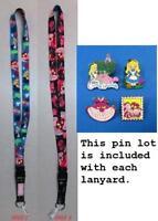 "Disney Trading Pin Neck Lanyard 26"" Alice in Wonderland Cheshire Reversible Pins"