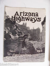 1925 SEPTEMBER ARIZONA HIGHWAYS MAGAZINE VALLEY GRAVEN IMAGES BORDERLAND ROUTE