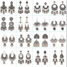 Vintage Sliver Indian Jhumka Gypsy Boho Ethnic Women Drop Earrings Jewelry USA