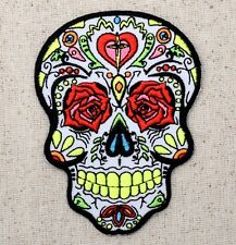 White Sugar Skull/Rose Eyes/Day of the Dead - Iron on Applique/Embroidered Patch