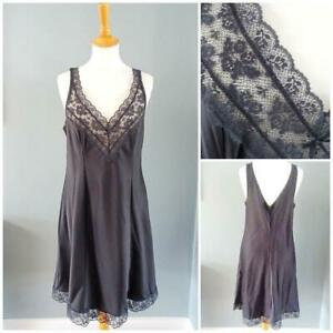 Vintage 1980s Nightgown Nightdress Black Lace Ladies Peignoir Lingerie Nightie