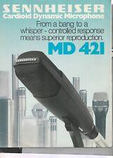 SENNHEISER CARDIOID DYNAMIC MICROPHONE MD-421 1978 CATALOG