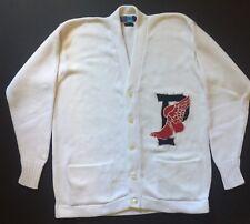 VTG Polo Ralph Lauren P Wing Cardigan Knit Sweater Snow Beach Stadium 92 Stadium