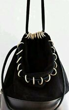 Urban Outfitters Silence & Noise Faux Suede/Leather Draped Bucket Bag Black