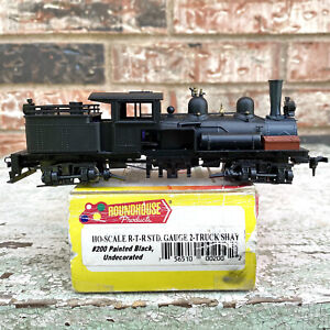 Roundhouse HO-scale R-T-R STD. Gauge 2-Truck Shay Black Undecorated With Box