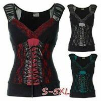 Summer Women Vintage Tank Tops Sleeveless Steampunk Gothic Sports Casual T-shirt