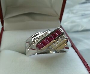 1.40 ct 14k Solid White Gold men's Natural Diamond & Ruby Ring Princess Cut USA