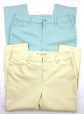 Two (2) Pair! Chico's Platinum Cropped Jeans Sz. 1 (8) Yellow Rosamilia Green