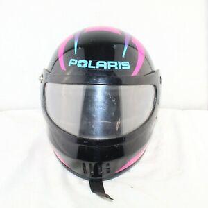 POLARIS men snowmobile full visor size Medium black DOT approved helmet good con