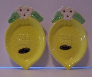Lemon Teabag Holder Josef Original Floral Yellow Vintage Stickers Set of 2 Lot
