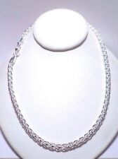 womens 6mm round spiga wheat rope 20 inch chain necklace 925 sterling silver