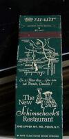 Rare Vintage Matchbook Cover K1 Pekin New York Schimschack's Restaurant + Bell