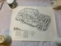 Vintage 1972 Jeep Commando Black and White Lithogaph X-Ray View 20 by 16 Inches