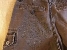 VANS men's size 28 x 10.5 cargo shorts plaid flat zip fly cotton brown