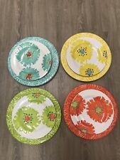 """Laurie Gates Melamine Salad & Dinner Plates Vivid Floral Design 8.75"""" & 11"""""""