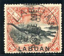 Labuan 1901 KEVII Postage Due 12c black & vermilion (p14½-15) VFU. SG D7b.