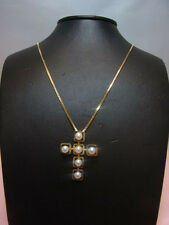 1094-585 G-Goldkette mit Perlenkreuz  Kettelang 38 cm Kreuz 3,5x2,5 cm Ge 6,9 g