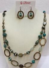 Premier Designs Necklace & Earrings Set St Lucia Beads Aqua Blue Green Beaded