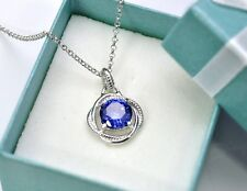 TANZANITE INFINITY NECKLACE 8mm .925 Sterling Silver
