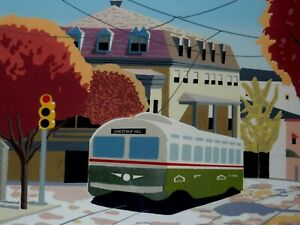 """JONATHAN GREENBERG SIGNED SERIGRAPH TITLED """"AUTUMN IN CHESTNUT HILL"""""""