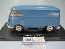 1/18 Welly Volkswagen T1 1963 Microbus Panel Van Blue -  18053 cochesaescala