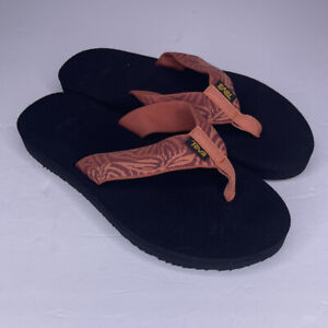 Womens Sz 6 Orange Safari 4198 TEVA Original Mush II Sandals Flip Flops