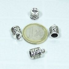 5/16in T289C - T06 Silver Tibet End Caps 25 Terminals for Leather / Cord 0 1/2x0