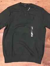 Polo Ralph Lauren Men's Sweater Pullover V Neck NWT Green Pima Cotton Small