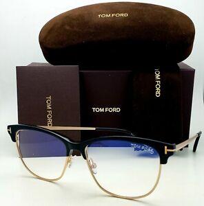 New TOM FORD Blue Blocking Cat-Eye Eyeglasses TF 5546-B 001 54-14 Black Frames