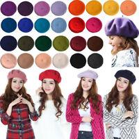 Tan Girls Summer French Berets Beanies Fashion Wool Felt Accessories