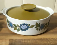 Vintage Casserole Dish With Lid. J & G Meakin Green/Blue Floral. 1960/70s