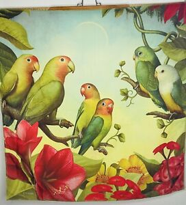 """Macaw Tropical Parrot Tapestry Wall Hanging Knot Wrap 27""""x27"""" Artist D. Craig"""