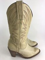 FRYE Billy Tan Leather Pull On Western Cowboy Women Boots wow 6.5 Embroidered