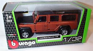 Land Rover Defender 110 Orange & black 1:32 Scale Diecast  burago New in Box