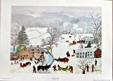 Grandma Moses A Frosty Day  20X14 Offset Lithograph Reprint