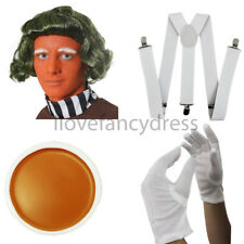 FACTORY WORKER WIG WHITE BRACES ORANGE FACE PAINT WHITE GLOVES 1980S FANCY DRESS