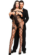 Bodystocking sexy donna catsuit Tuta nera aperta lingerie intimo HOT