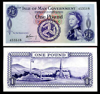 ISLE OF MAN 1 POUND ND 1961 P 25a SIGN 1 AUNC ABOUT UNC