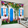 3D House Floral Blockout Photo Curtain Printing Curtains Drapes Fabric Window AU