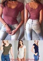 Women's Basic Cotton Blend Scoop Neck Short Sleeve Layering Bodysuit Top Tee